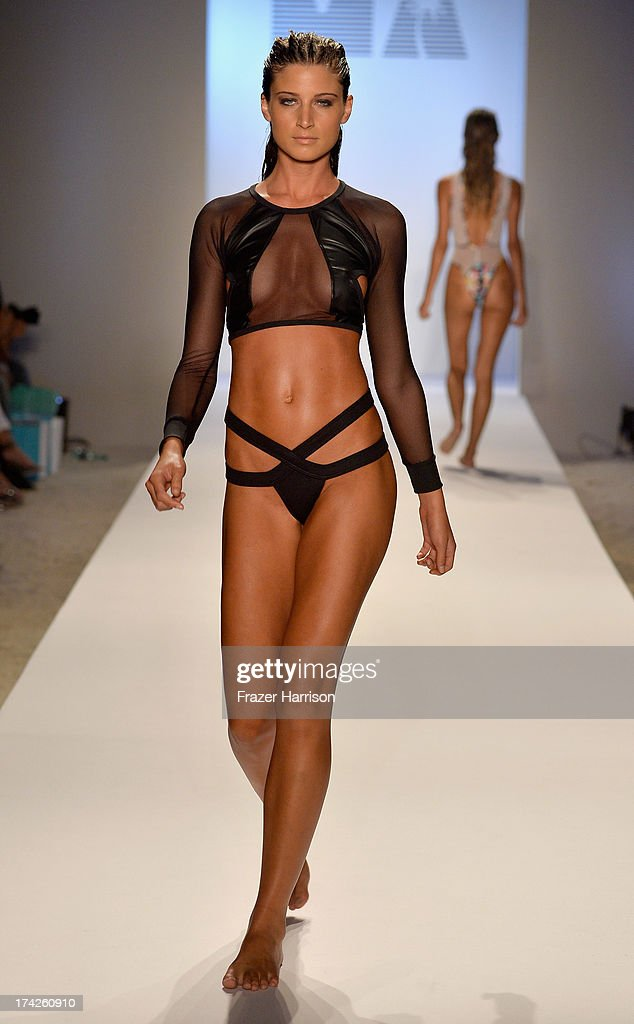 A model walks the runway at the Minimale Animale show during Mercedes-Benz Fashion Week Swim 2014 at Oasis at the Raleigh on July 22, 2013 in Miami, Florida.