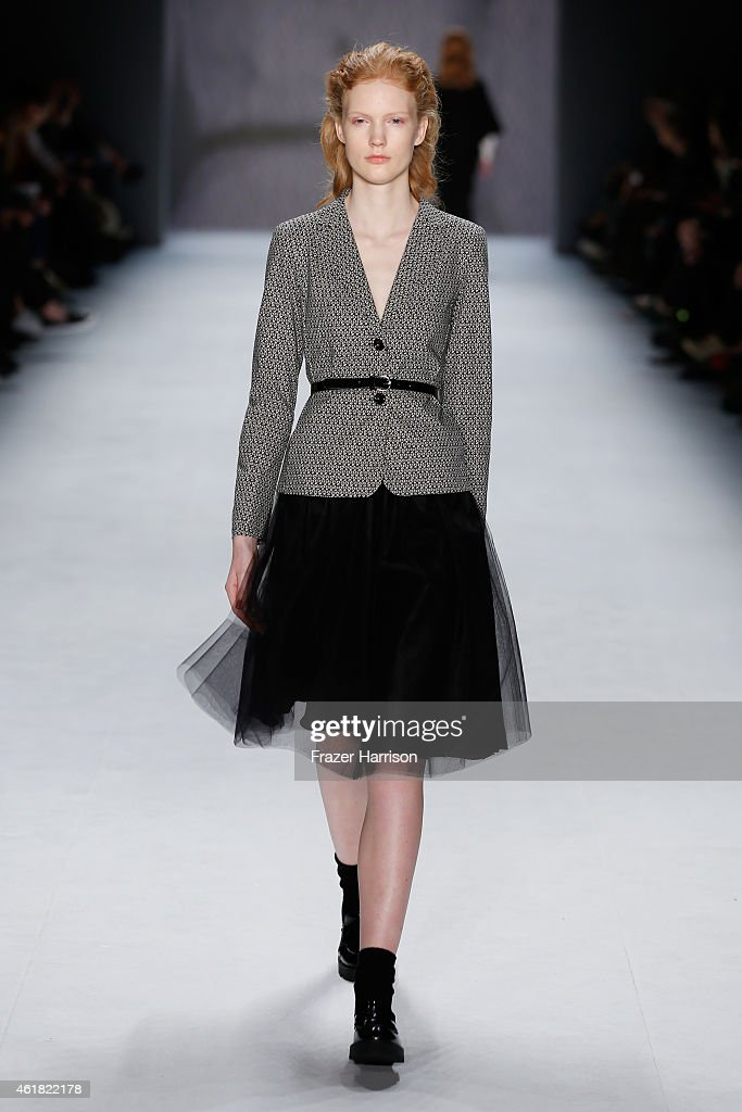 A model walks the runway at the Minx by Eva Lutz show during the MercedesBenz Fashion Week Berlin Autumn/Winter 2015/16 at Brandenburg Gate on...