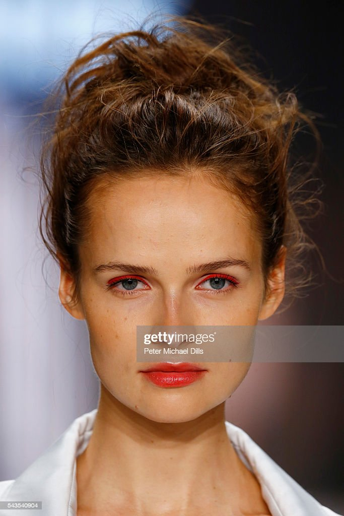 A model walks the runway at the Minx by Eva Lutz show during the Mercedes-Benz Fashion Week Berlin Spring/Summer 2017 at Erika Hess Eisstadion on June 29, 2016 in Berlin, Germany.