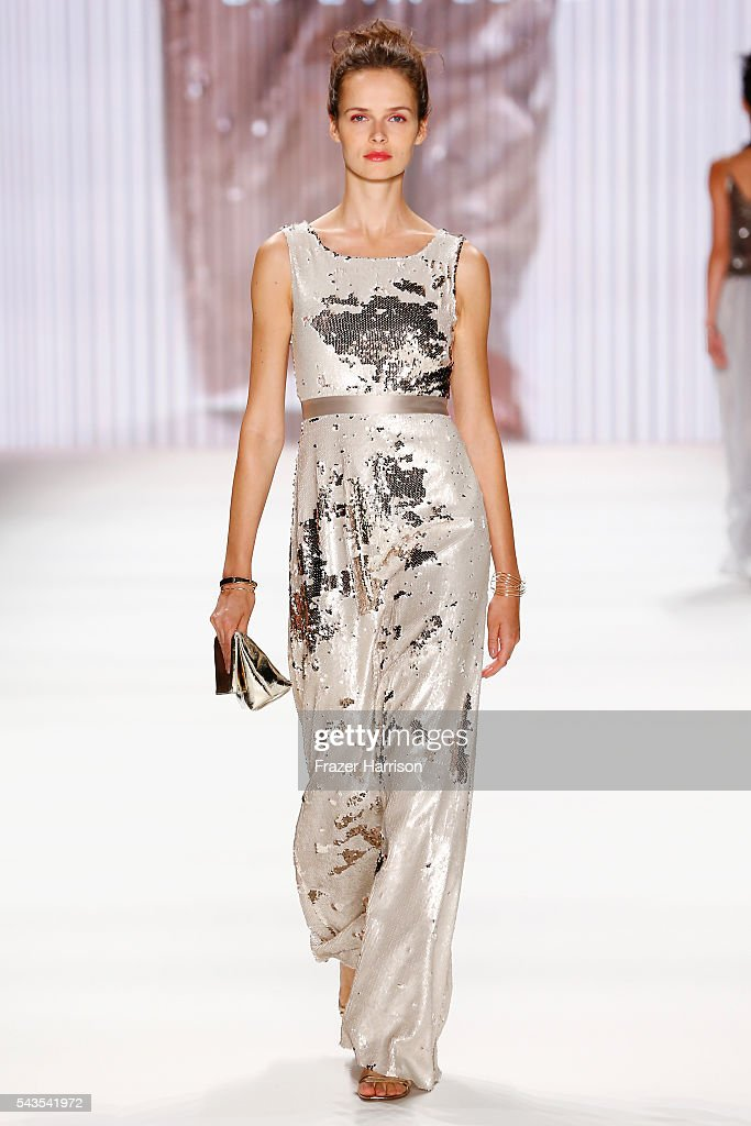 A model walks the runway at the Minx by Eva Lutz show during the MercedesBenz Fashion Week Berlin Spring/Summer 2017 at Erika Hess Eisstadion on June...
