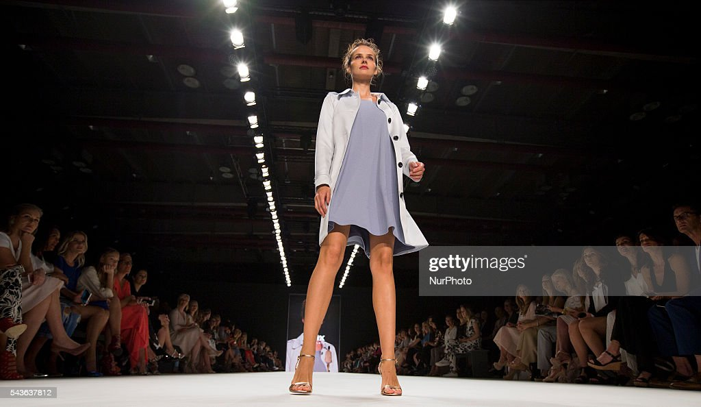 A model walks the runway at the Minx by Eva Lutz show during the Mercedes-Benz Fashion Week Berlin Spring / Summer 2017 at Erika Hess Eisstadion in Berlin, Germany on June 29, 2016.