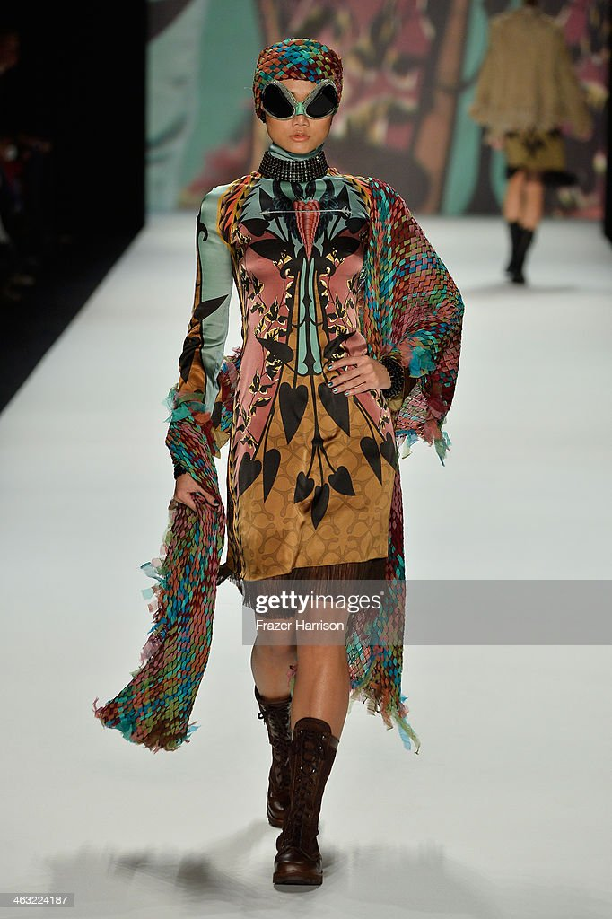 A model walks the runway at the Miranda Konstantinidou show during Mercedes-Benz Fashion Week Autumn/Winter 2014/15 at Brandenburg Gate on January 17, 2014 in Berlin, Germany.