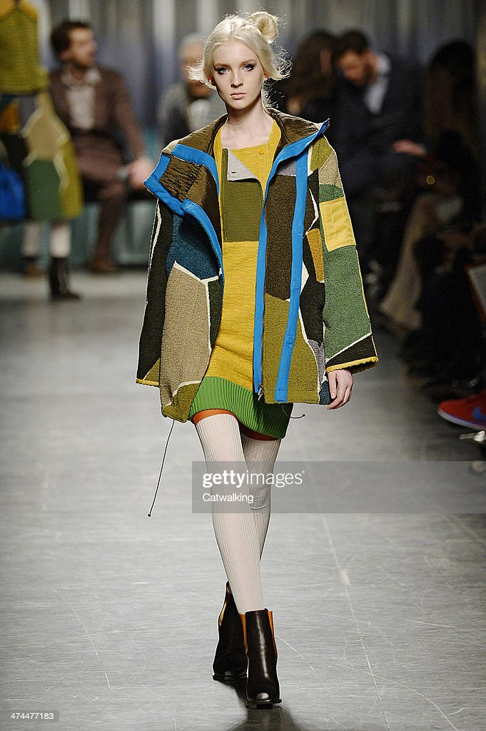 A model walks the runway at the Missoni Autumn Winter 2014 fashion show during Milan Fashion Week on February 23, 2014 in Milan, Italy.