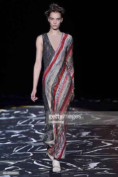 A model walks the runway at the Missoni Autumn Winter 2015 fashion show during Milan Fashion Week on March 1 2015 in Milan Italy