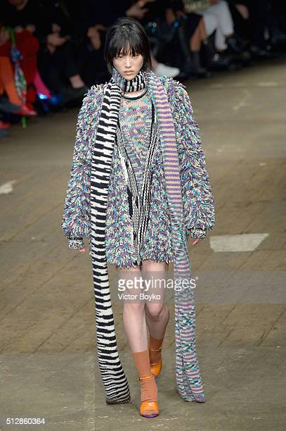 A model walks the runway at the Missoni show during Milan Fashion Week Fall/Winter 2016/17 on February 28 2016 in Milan Italy
