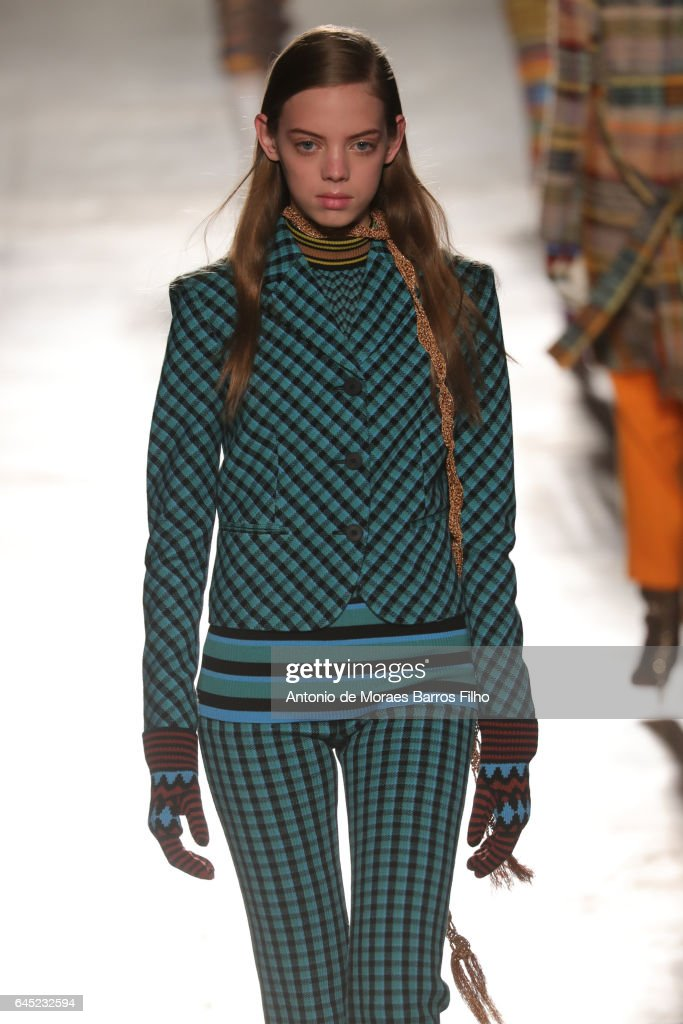 A model walks the runway at the Missoni show during Milan Fashion Week Fall/Winter 2017/18 on February 25, 2017 in Milan, Italy.