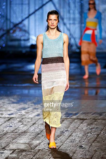A model walks the runway at the Missoni show Milan Fashion Week Spring/Summer 2017 on September 25 2016 in Milan Italy