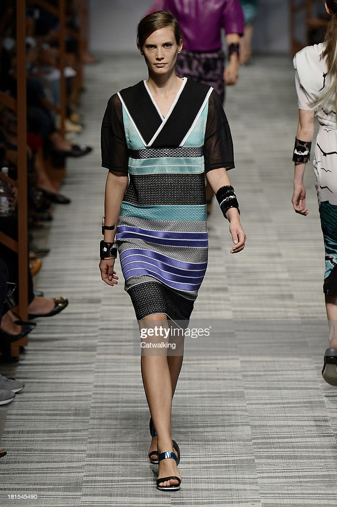 A model walks the runway at the Missoni Spring Summer 2014 fashion show during Milan Fashion Week on September 22, 2013 in Milan, Italy.