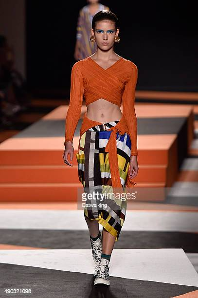 A model walks the runway at the Missoni Spring Summer 2016 fashion show during Milan Fashion Week on September 27 2015 in Milan Italy