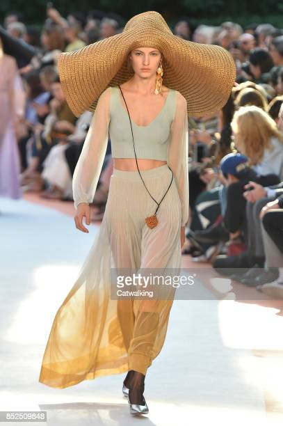 A model walks the runway at the Missoni Spring Summer 2018 fashion show during Milan Fashion Week on September 23 2017 in Milan Italy