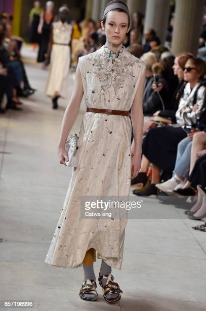 A model walks the runway at the Miu Miu Spring Summer 2018 fashion show during Paris Fashion Week on October 3 2017 in Paris France