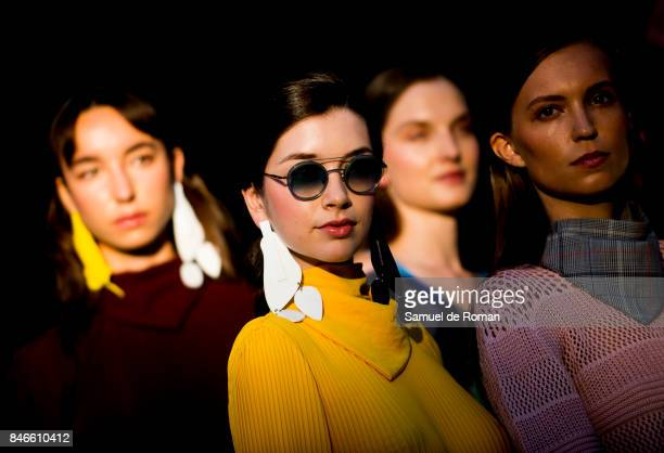 A model walks the runway at the Moises Nieto show during the MercedesBenz Fashion Week Madrid Spring/Summer 2018 on September 13 2017 in Madrid Spain