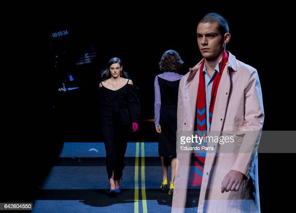 Picture was taken with a multi exposure effect of the camera A model walks the runway at the Moises Nieto show during the MercedesBenz Madrid Fashion...