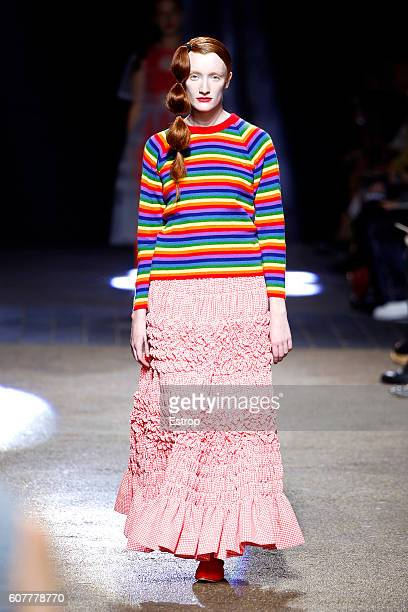 A model walks the runway at the Molly Goddard show during London Fashion Week Spring/Summer collections 2017 on September 17 2016 in London United...