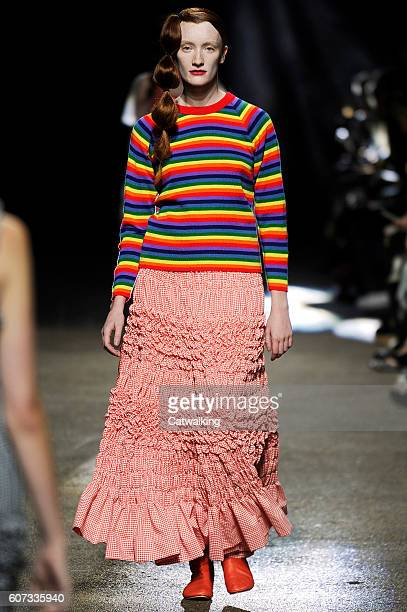 A model walks the runway at the Molly Goddard Spring Summer 2017 fashion show during London Fashion Week on September 17 2016 in London United Kingdom