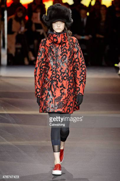 A model walks the runway at the Moncler Autumn Winter 2014 fashion show during Paris Fashion Week on March 5 2014 in Paris France