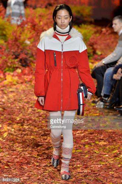 A model walks the runway at the Moncler Gamme Rouge Autumn Winter 2017 fashion show during Paris Fashion Week on March 7 2017 in Paris France