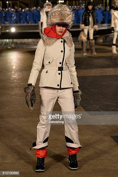 A model walks the runway at the Moncler Grenoble Autumn Winter 2016 fashion show during New York Fashion Week on February 13 2016 in New York United...
