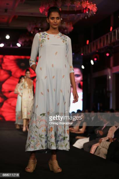 A model walks the runway at the Monica Sharma show during Shoppers Stop Designer of tghe Year awards 2017 held at Four Seaons on May 24 2017 in...