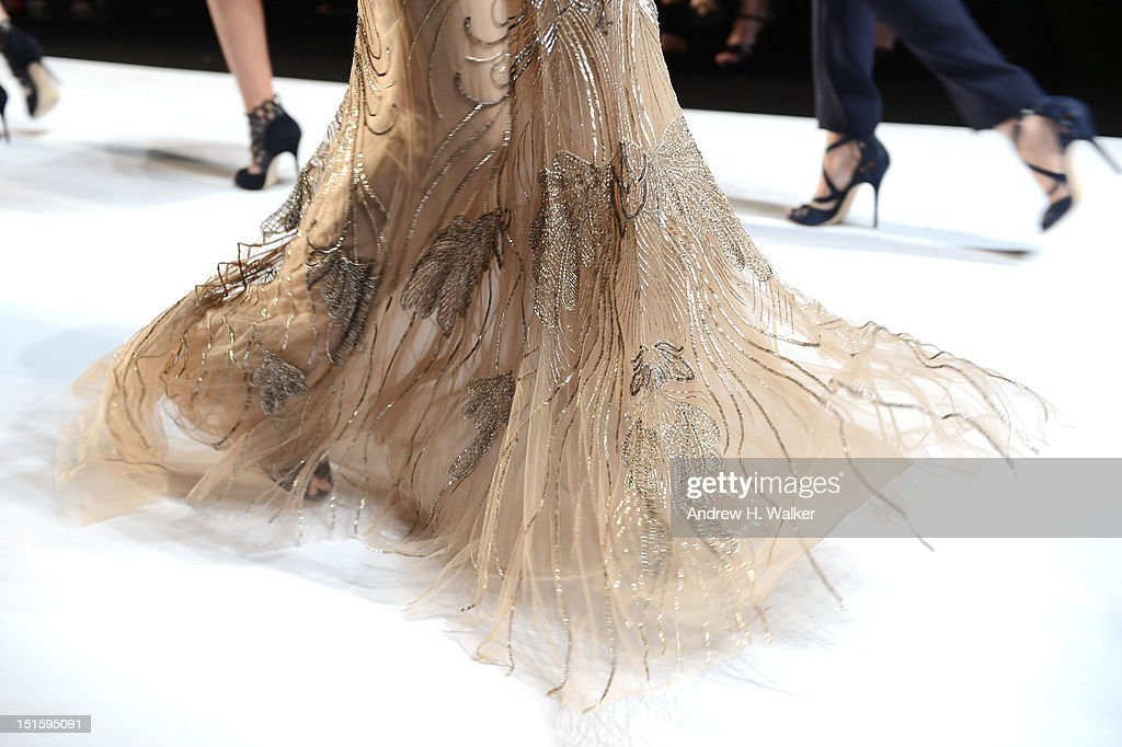 A model walks the runway at the Monique Lhuillier fashion show during Spring 2013 Mercedes-Benz Fashion Week at Lincoln Center for the Performing Arts on September 8, 2012 in New York City.