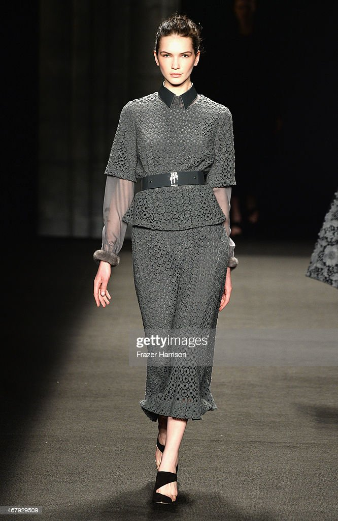 A model walks the runway at the Monique Lhuillier fashion show during Mercedes-Benz Fashion Week Fall 2014 at The Theatre at Lincoln Center on February 8, 2014 in New York City.
