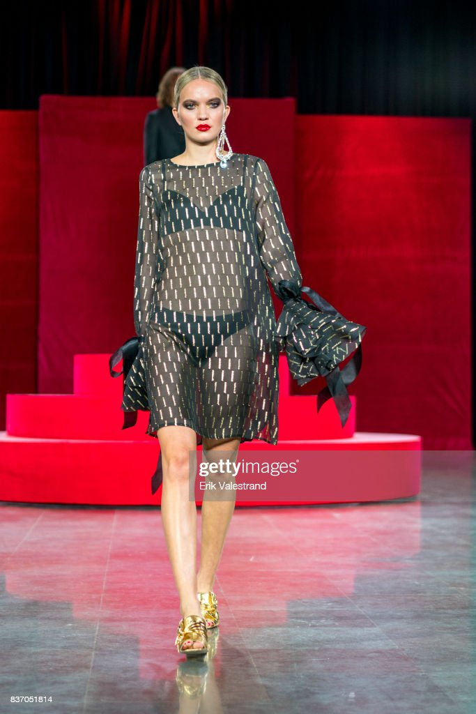 A model walks the runway at the Moods Of Norway show during the Fashion Week Oslo Spring/Summer 2018 on August 22, 2017 in Oslo, Norway.