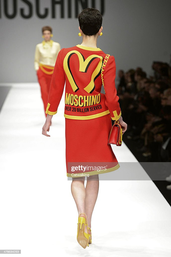 A model walks the runway at the Moschino Autumn Winter 2014 fashion show during Milan Fashion Week on February 20, 2014 in Milan, Italy.