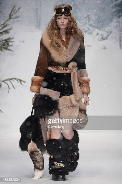 A model walks the runway at the Moschino Autumn Winter 2015 fashion show during London Menswear Fashion Week on January 11 2015 in London United...