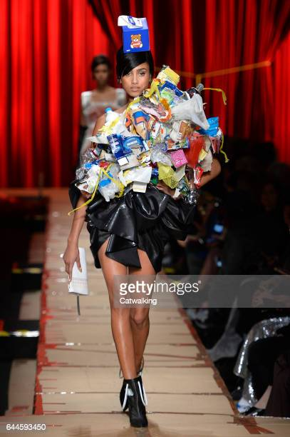 A model walks the runway at the Moschino Autumn Winter 2017 fashion show during Milan Fashion Week on February 23 2017 in Milan Italy