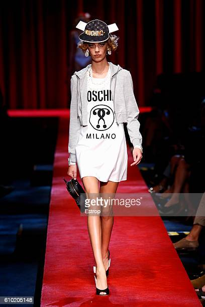 A model walks the runway at the Moschino designed by Jeremy Scott show Milan Fashion Week Spring/Summer 2017 on September 22 2016 in Milan Italy