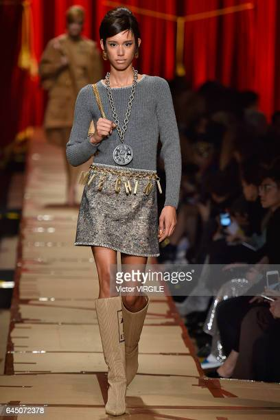 A model walks the runway at the Moschino Ready to Wear fashion show during Milan Fashion Week Fall/Winter 2017/18 on February 23 2017 in Milan Italy