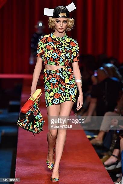 A model walks the runway at the Moschino Ready to Wear show during Milan Fashion Week Spring/Summer 2017 on September 22 2016 in Milan Italy