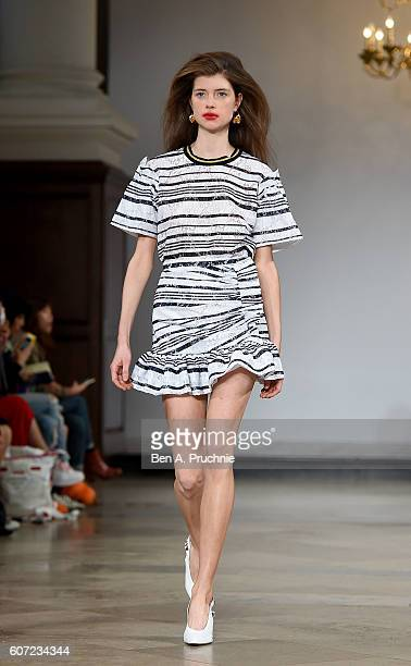 A model walks the runway at the Mother of Pearl show during London Fashion Week Spring/Summer collections 2017 on September 17 2016 in London United...