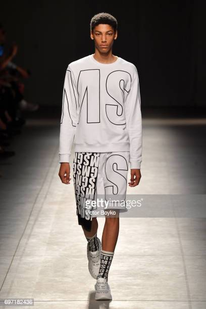 A model walks the runway at the MSGM show during Milan Men's Fashion Week Spring/Summer 2018 on June 18 2017 in Milan Italy