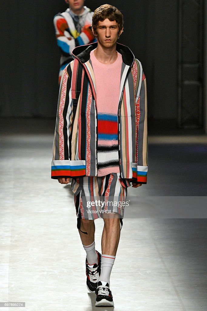 A model walks the runway at the MSGM show during Milan Men's Fashion Week Spring/Summer 2018 on June 18, 2017 in Milan, Italy.