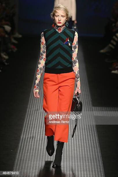 A model walks the runway at the MSGM show during the Milan Fashion Week Autumn/Winter 2015 on March 1 2015 in Milan Italy