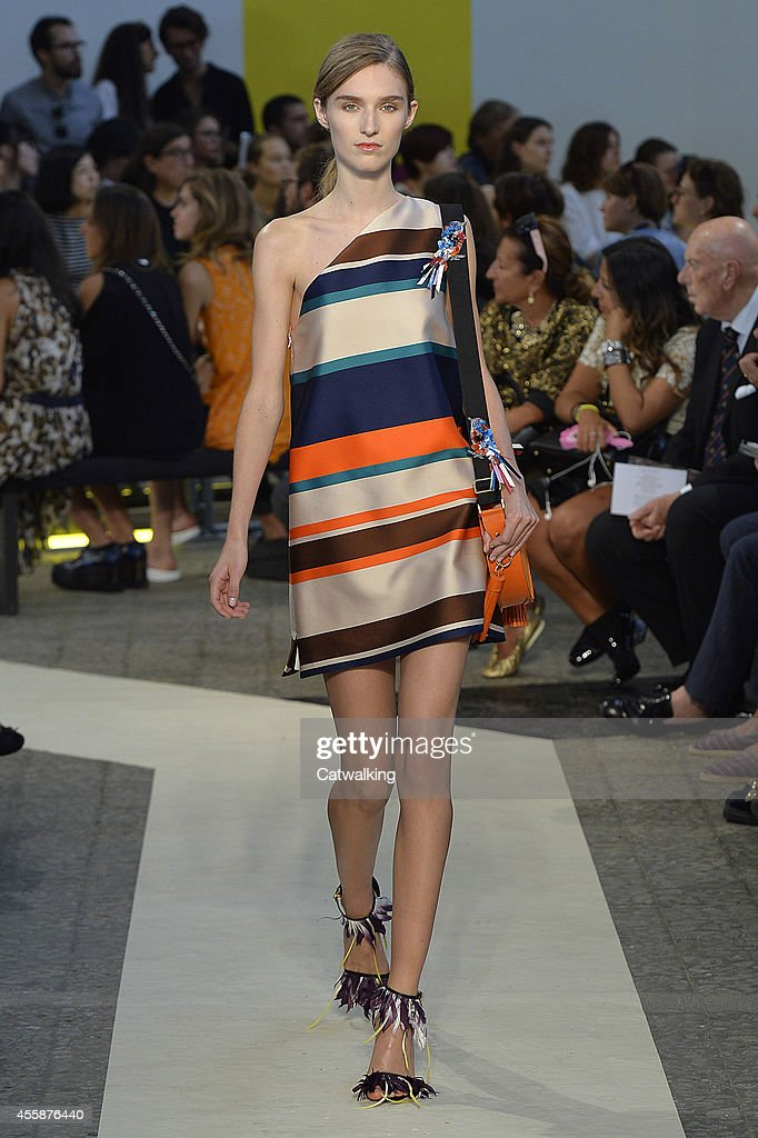 A model walks the runway at the MSGM Spring Summer 2015 fashion show during Milan Fashion Week on September 21 2014 in Milan Italy