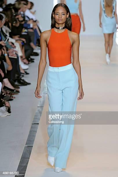 A model walks the runway at the Mugler Spring Summer 2015 fashion show during Paris Fashion Week on September 27 2014 in Paris France
