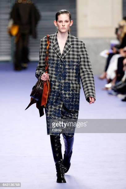 A model walks the runway at the Mulberry designed by Johnny Coca show during the London Fashion Week February 2017 collections on February 19 2017 in...