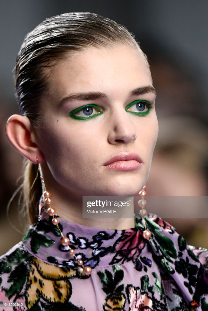 A model walks the runway at the Mulberry Ready to Wear Fall Winter 2017-2018 fashion show during the London Fashion Week February 2017 collections on February 19, 2017 in London, England.