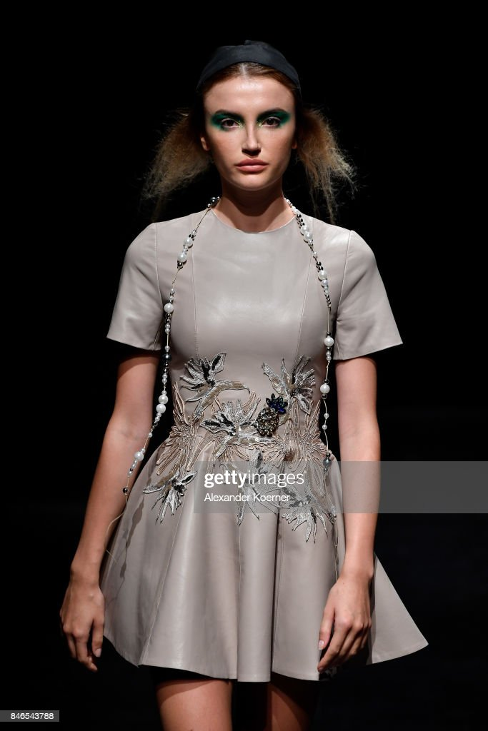 A model walks the runway at the Murat Aytulum show during Mercedes-Benz Istanbul Fashion Week September 2017 at Zorlu Center on September 13, 2017 in Istanbul, Turkey.