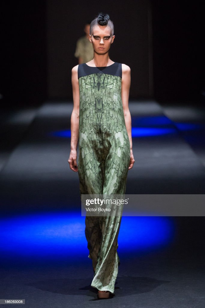 Model walks the runway at the Muscovites by Mashsa Kravtsova show of Mercedes-Benz Fashion Week S/S 14 on October 29, 2013 in Moscow, Russia.