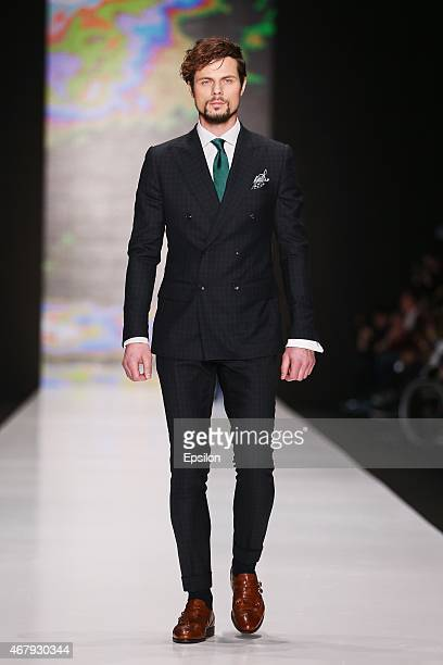 A model walks the runway at the Musika Frere show during the MercedesBenz Fashion Week Russia Autumn/Winter 2015/16 at Manege on March 28 2015 in...