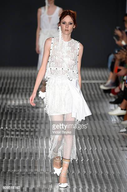 A model walks the runway at the N21 show during Milan Fashion Week Spring/Summer 2017 on September 21 2016 in Milan Italy