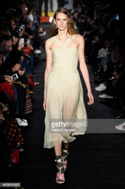 A model walks the runway at the N21 show during Milan Fashion Week Fall/Winter 2017/18 on February 22 2017 in Milan Italy