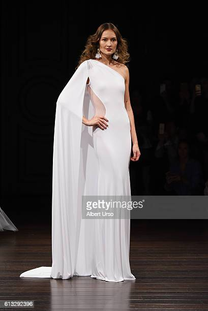A model walks the runway at the Naeem Khan show during New York Fashion Week Bridal at the Naeem Khan Showroom on October 7 2016 in New York City