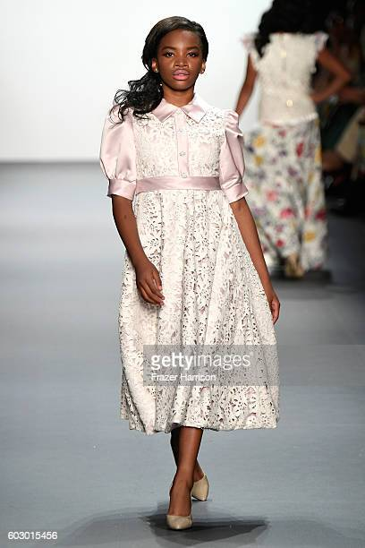 A model walks the runway at the Nancy Vuu fashion show during New York Fashion Week The Shows at The Dock Skylight at Moynihan Station on September...