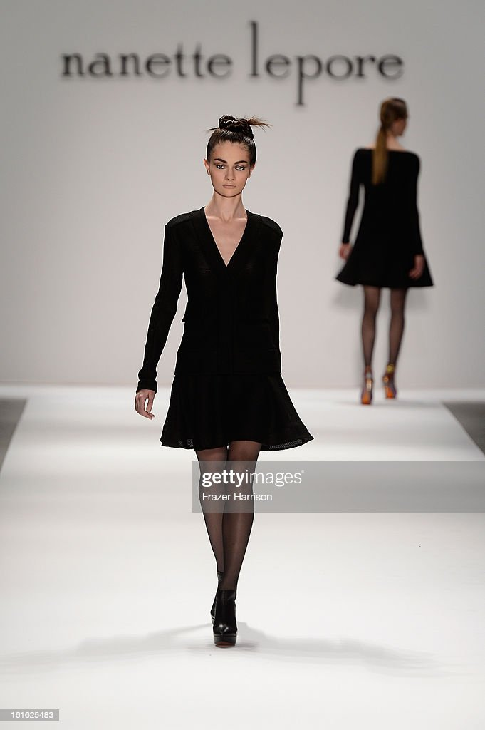 A model walks the runway at the Nanette Lepore Fall 2013 fashion show during Mercedes-Benz Fashion Week at The Stage at Lincoln Center on February 13, 2013 in New York City.