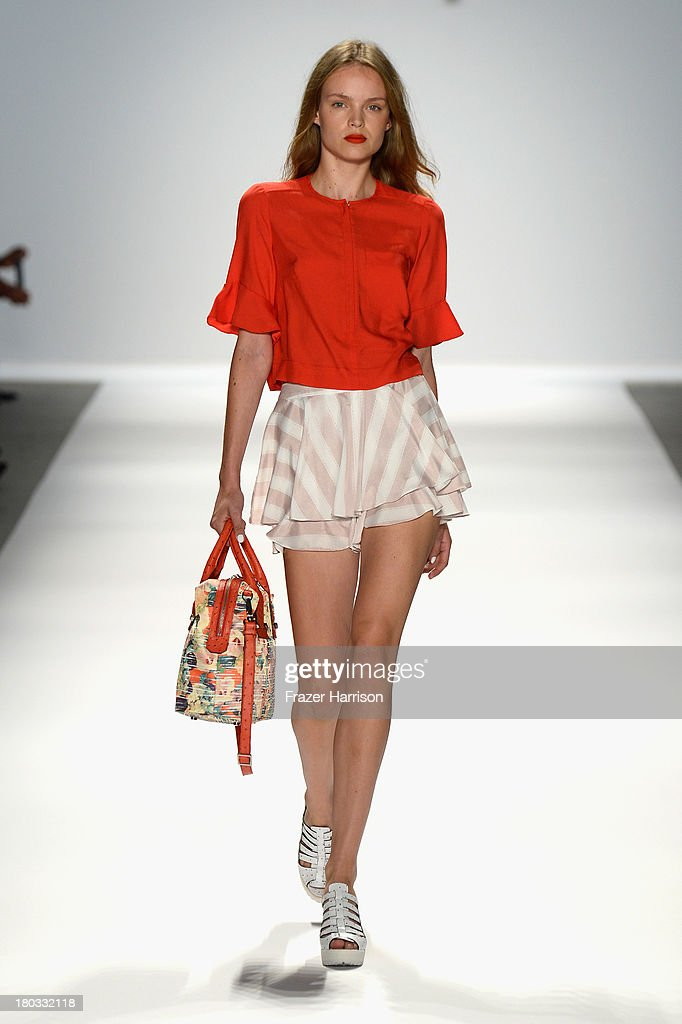 A model walks the runway at the Nanette Lepore fashion show during Mercedes-Benz Fashion Week Spring 2014 on September 11, 2013 in New York City.
