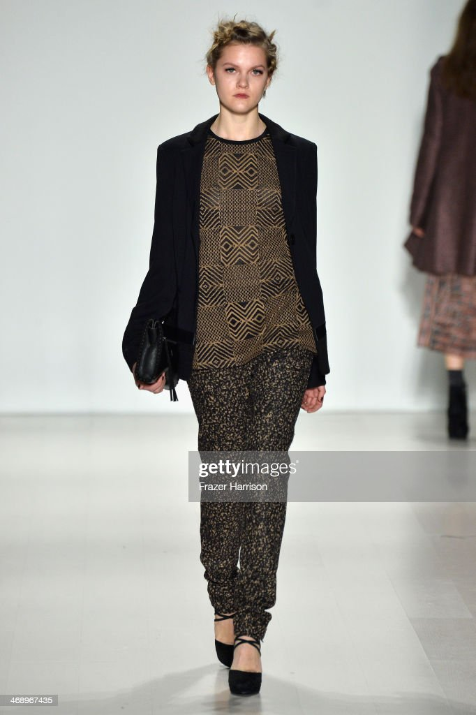 A model walks the runway at the Nanette Lepore fashion show during Mercedes-Benz Fashion Week Fall 2014 at The Salon at Lincoln Center on February 12, 2014 in New York City.